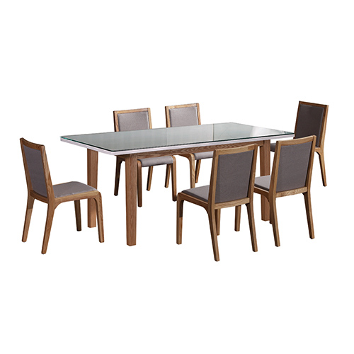 Galaxy Wooden Frame Glossy Dining Set With 6X Chairs